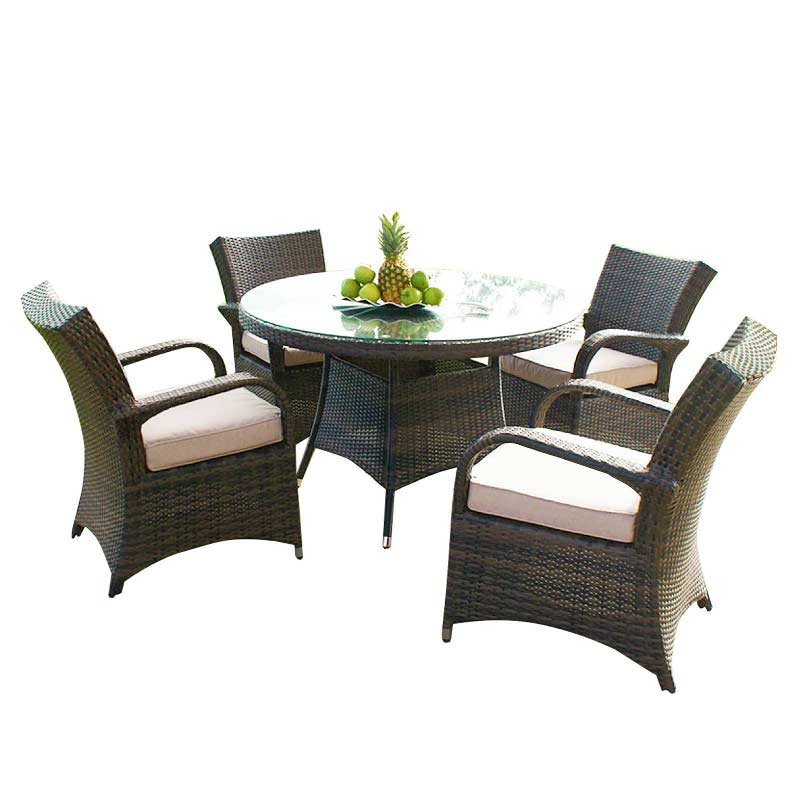 Oseasons Windsor Rattan 4 Seater 120cm Round Dining Set On