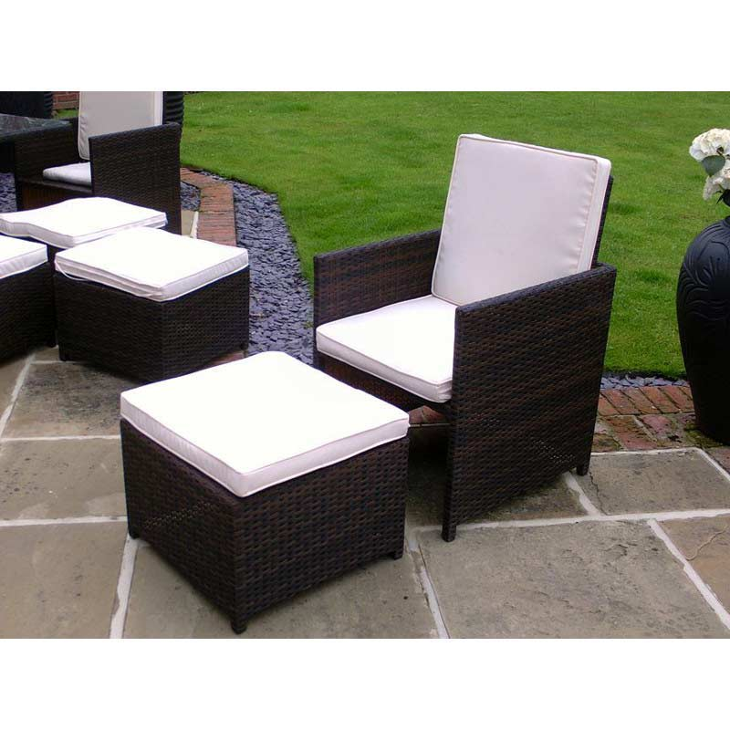 oseasons cube rattan 8 seater 127cm square patio set on sale. Black Bedroom Furniture Sets. Home Design Ideas