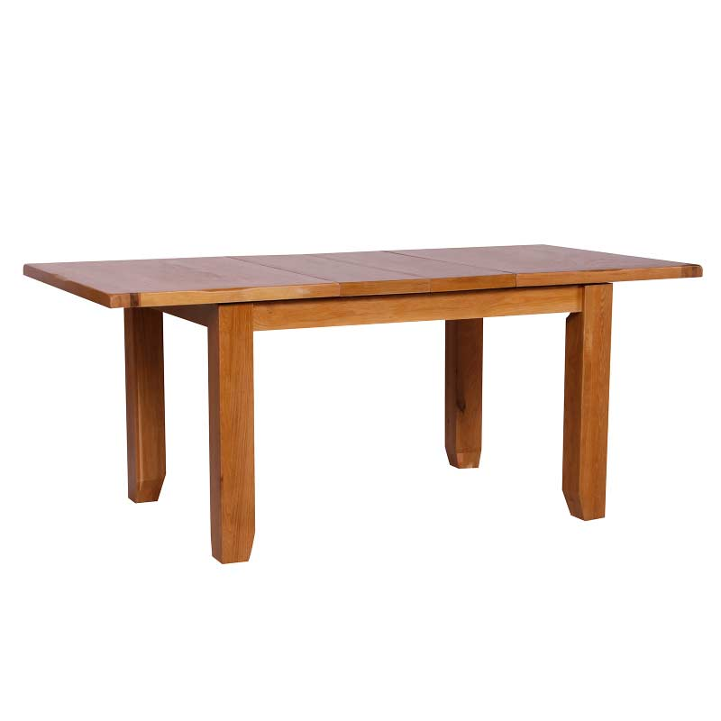 Oseasons solid oak 130cm twin leaf extending dining table for Solid oak dining table with leaf