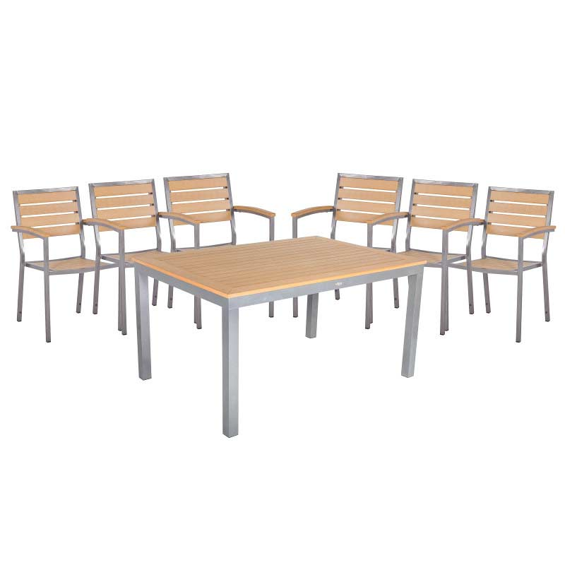Sol bistro 6 seater dining set 150cm table teak asian on sale for 10 seater dining table sale