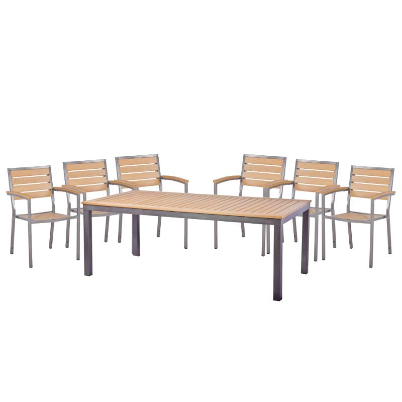 Sol bistro 6 seater dining set 200cm table teak asian on sale for 10 seater dining table sale