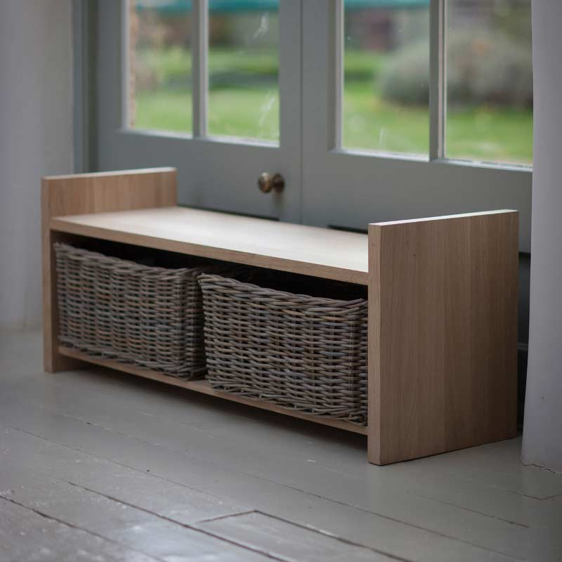 Garden Trading Oxford Storage Bench Raw Oak On Sale Fast Delivery