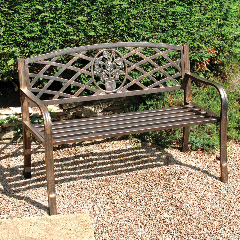Greenhurst Coalbrookdale 2 Seater Bench Dark Copper On Sale