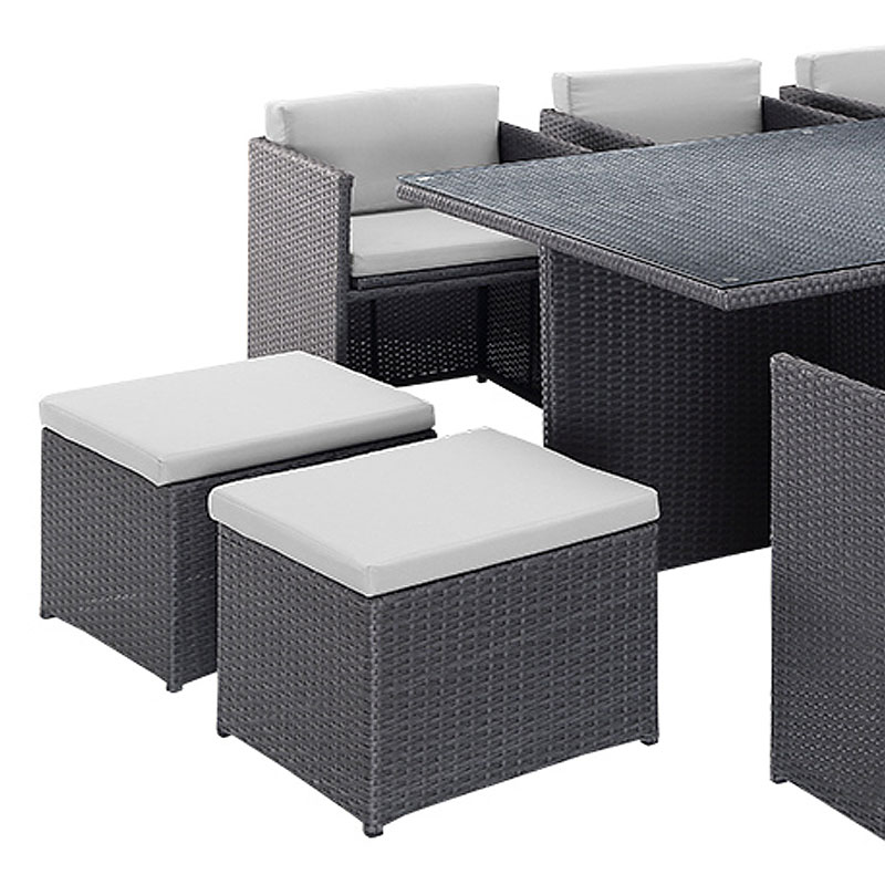 Rattan 6 Armchair 173cm Rectangular Dining Table Cube Set