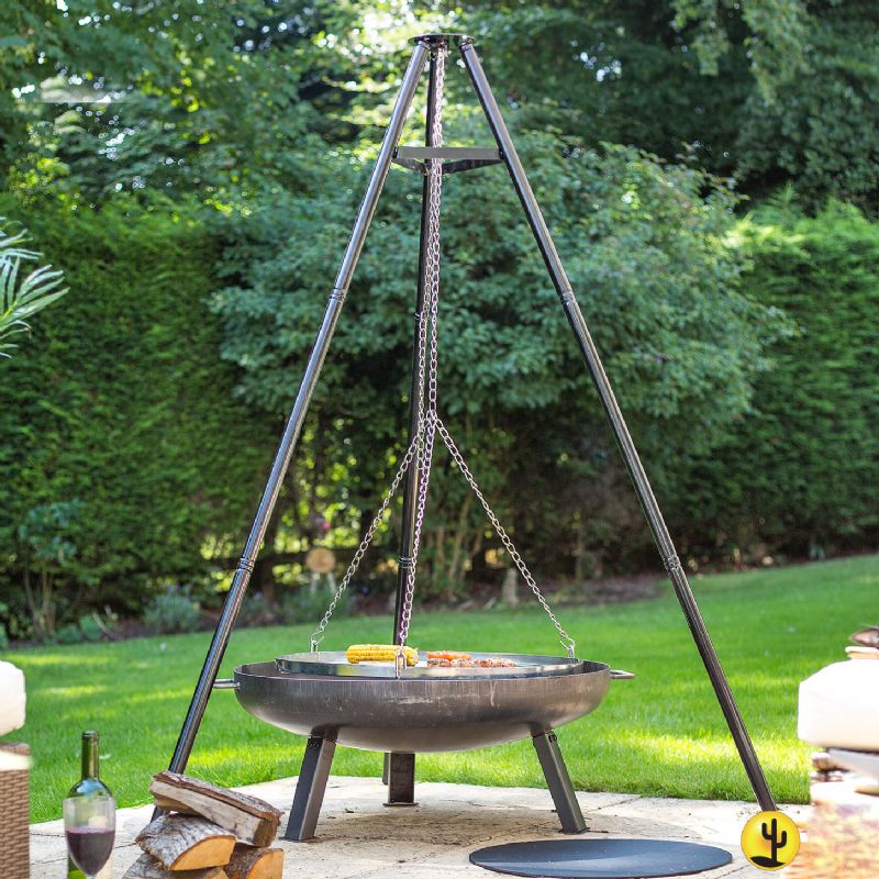 La hacienda tripod with hanging grill 172cm height on sale for Hanging fire bowl