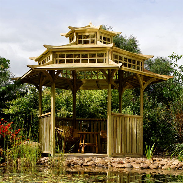 Rowlinson oriental pagoda gazebo on sale fast delivery for Japanese garden structures wood