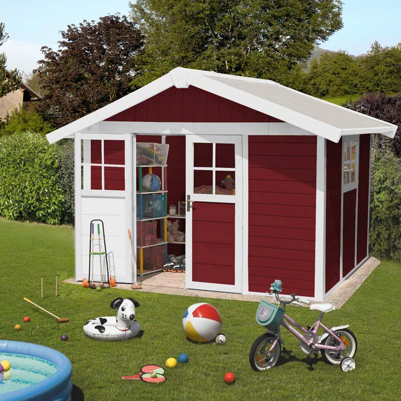 grosfillex garden deco shed burgundy and white w12ft x d10ft