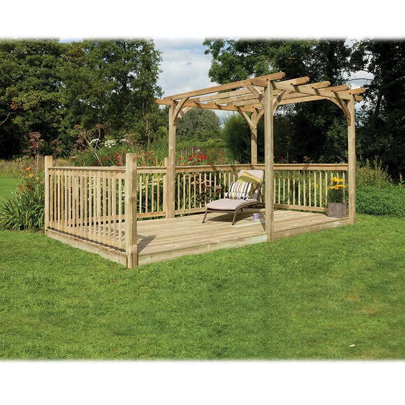 Forest garden fsc ultima pergola deck kit 24 x 48m on sale for Garden decking for sale