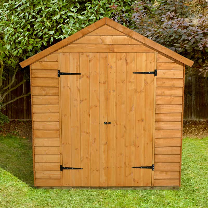 Forest garden larchlap overlap apex shed w6ft x d8ft on sale for Apex garden sheds
