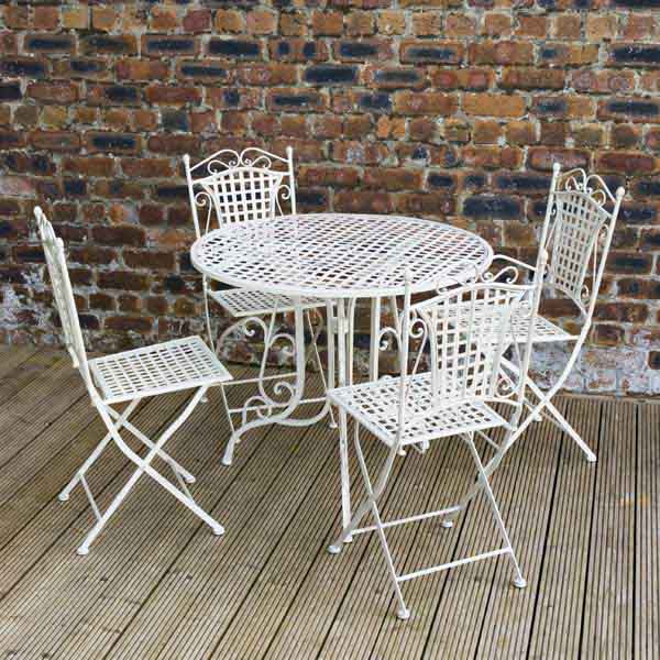 ellister mercia iron 4 folding chair 90cm circular patio set