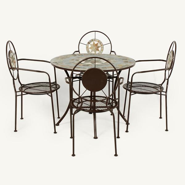 Ellister zurich 4 armchair 80cm round dining set on sale for Outdoor furniture zurich