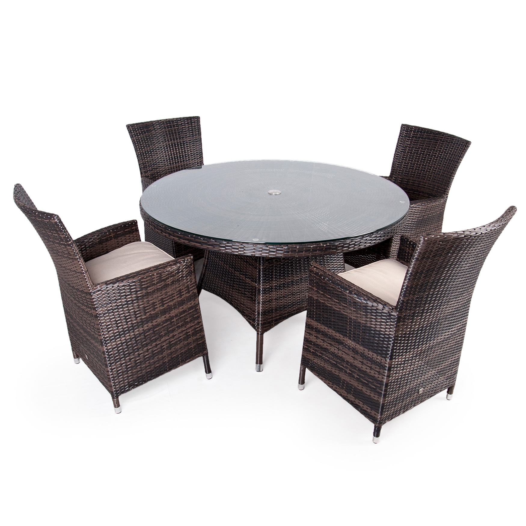 Outdoor Garden Furniture Rattan 4 Armchair Table 135cm Round Dining Patio Set