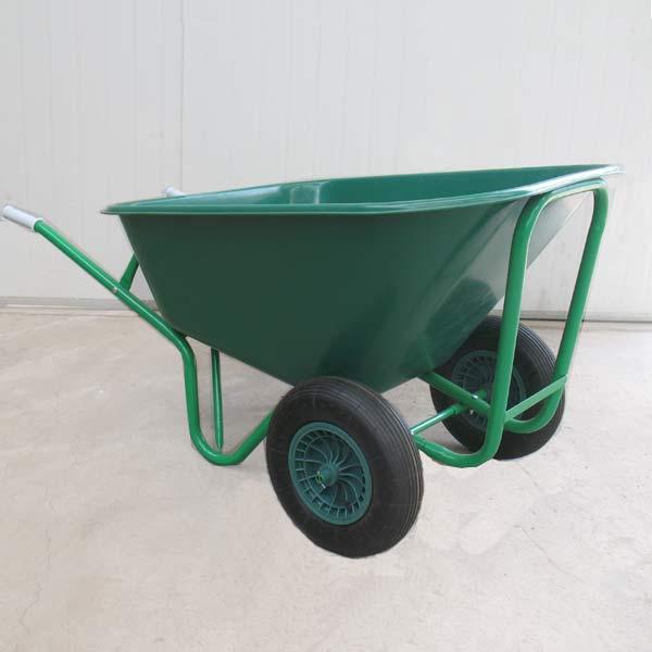 Greenfingers Heavy Duty Twinwheeled Plastic Wheelbarrow 130l