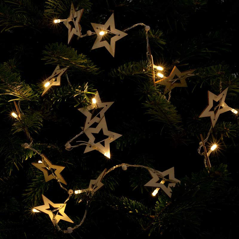 Noma Wooden Star String LED Twinkle Lights 16 Warm White on Sale