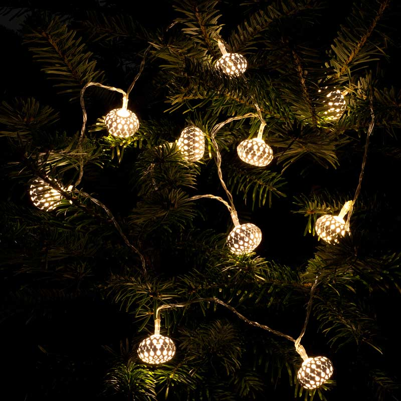 Noma Party String Lights : Noma Metal Filigree Lantern String LED Twinkle Lights 10 Warm White