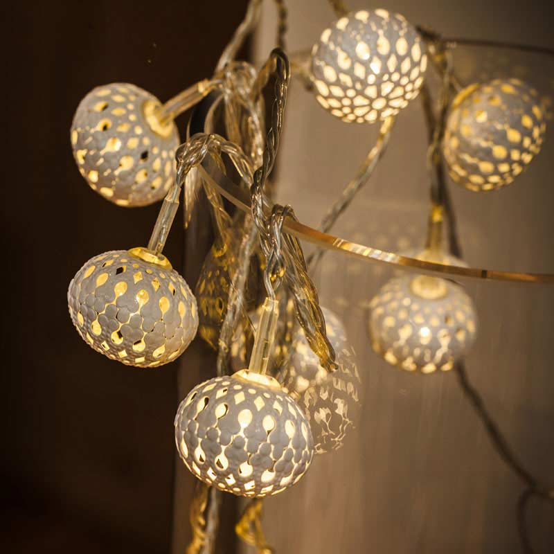 Metal Cap String Lights : Noma Metal Filigree Lantern String LED Twinkle Lights 10 Warm White