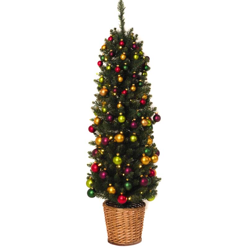Festive Pencil Christmas Tree Decorations 4ft Green On Sale