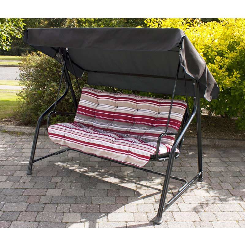 Greenfingers 3 seater padded swing seat hammock red stripe for Extra wide swing seat