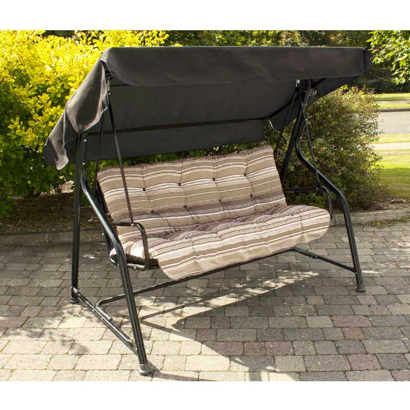 Greenfingers padded 3 seater swing seat latte stripe on sale for Extra wide swing seat
