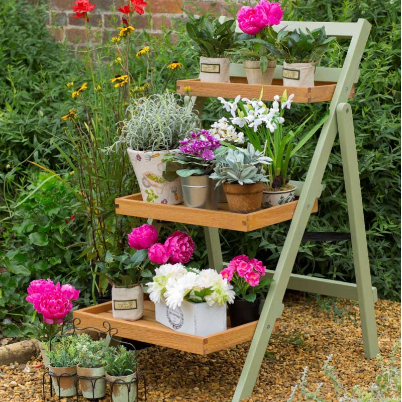 Norfolk verdi fsc eucalyptus folding pot plant shelf on sale for Plants for outdoor garden