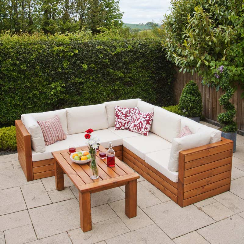 Ellister Genoa Fsc Pine Corner Sofa Garden Set With Table On Sale