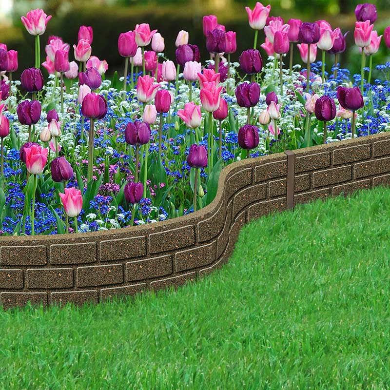 12m Recycled Rubber Lawn Edging Border Bricks H15cm On Sale