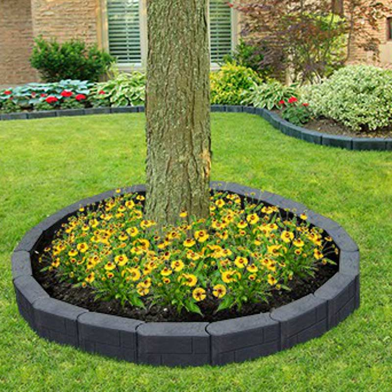 Stomp block rubber tree ring edging slate 09m on sale for Alternative garden edging