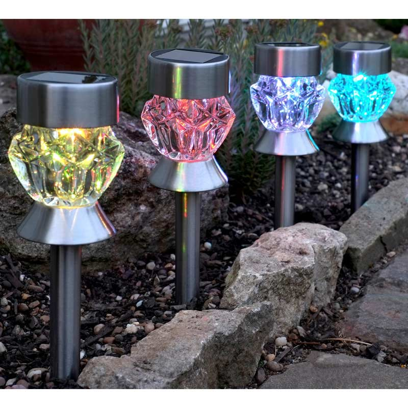 smart garden solar crystal glass marker light 4 pack on sale