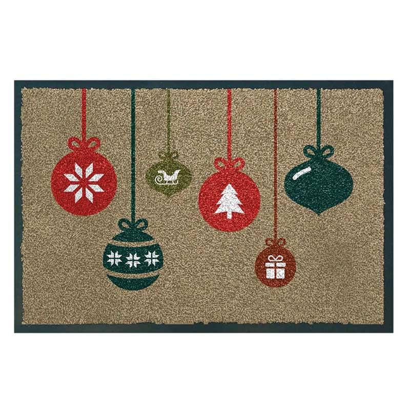 Gardman christmas baubles washable doormat 75 x 50cm on sale for Outside christmas baubles