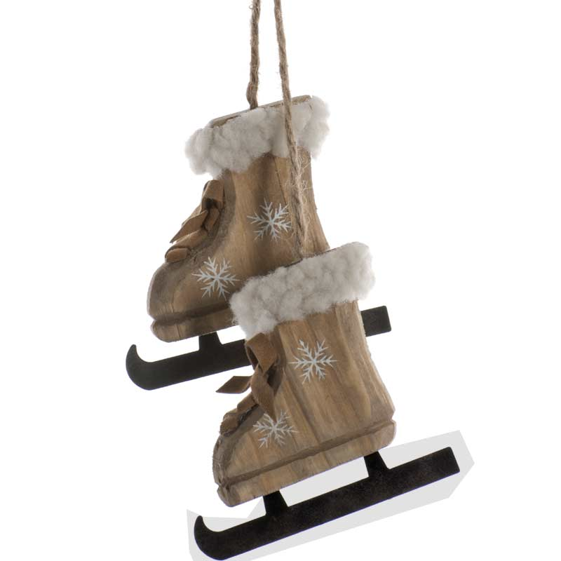 Christmas Baubles Pair of Hanging Wooden Ice Skates 18cm ...