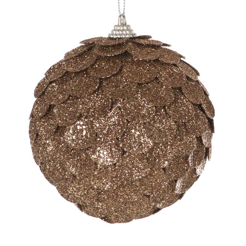 Christmas Baubles Champagne Sequin Ball 10cm On Sale