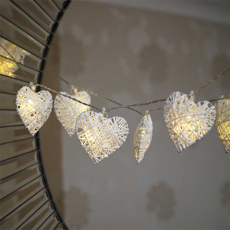 Rattan Hearts String Lights : Wicker Hearts Battery Powered String Lights 10 LEDs on Sale