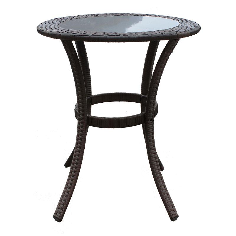 Rattan Round Coffee Table Uk: STURDY Rattan Round Table GLASS Top Steel Frame Outdoor