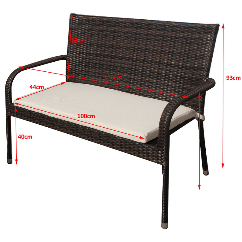 Pu Rattan Garden Bench Patio Outdoor Balcony With Cushion Compact Small Ebay