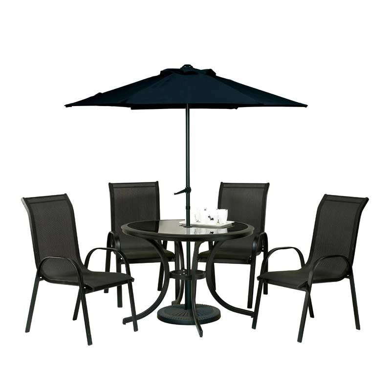 Royalcraft Cayman 4 Armchairs 102cm Circular Dining Set With 275m Black Parasol