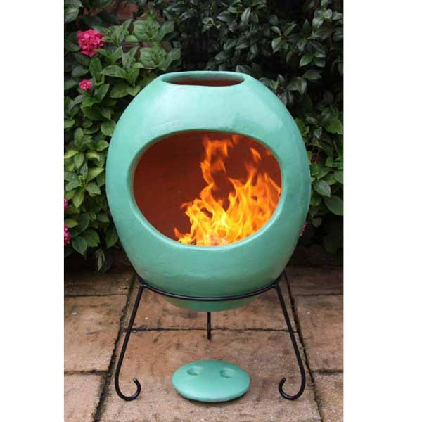 Gardeco Ellipse Clay Chiminea Extra Large Sage Green On Sale