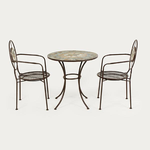 Ellister zurich iron 2 armchairs 70cm circular patio set for Outdoor furniture zurich