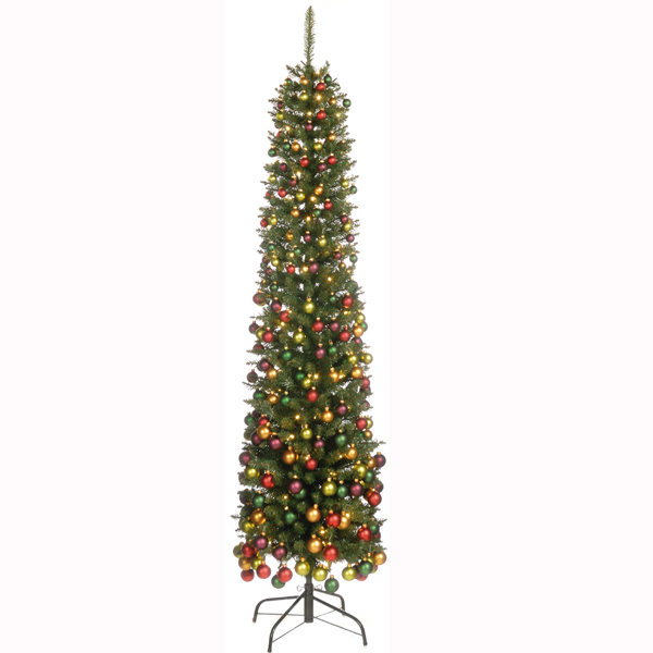 Festive Pencil Christmas Tree Decorations 6ft Green On Sale