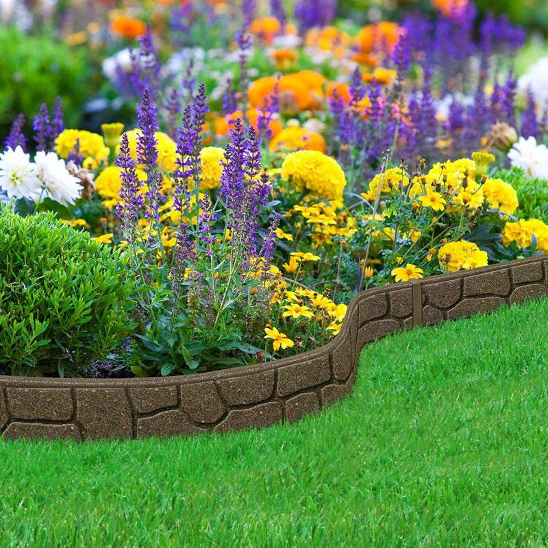 Flat Stone Edging: 12m Recycled Rubber Flexible Lawn Edging Border Stone H85cm