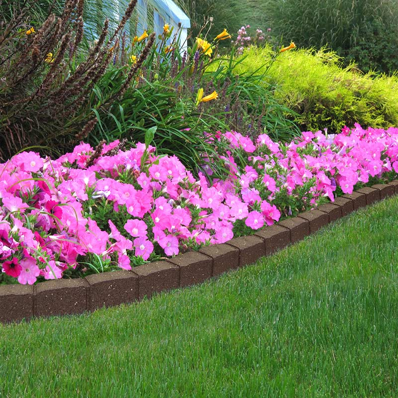 Flat Stone Edging: Recycled RUBBER Edging Flexible Curve Garden Landscape