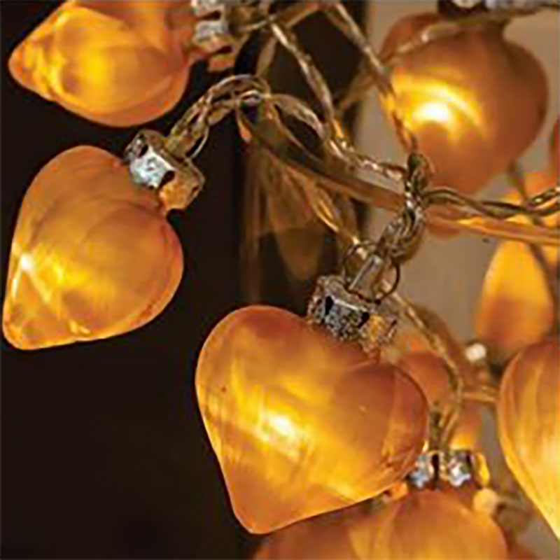 Christmas White LED Frosted Gold Glass Heart String Lights 10 White Clear Cable