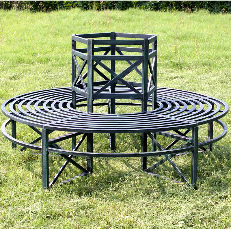 Garden Tree Seat Circular 360 Degrees Outdoor Bench Steel Frame Weatherproof Ebay
