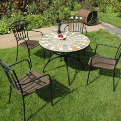 Europa Leisure Steel 4 Murcia Armchairs 91cm Round Alicante Table Patio Set