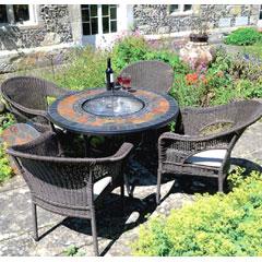 Europa Leisure 4 Bavaria Armchairs 107cm Round Durango Firepit Dining Table Set