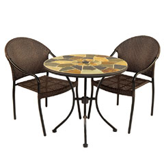 Europa Leisure 2 San Tropez Armchairs 76cm Round Pompei Bistro Table Set