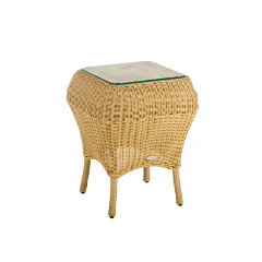 Cozy Bay Jamaica Rattan Side Table with 8mm Glass Top – Beige