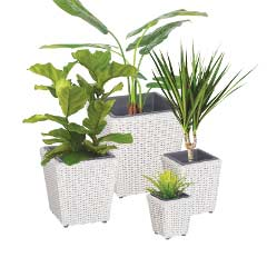 Cozy Bay Set of 4 Square Planter with Plastic Inlay
