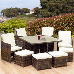 Oseasons Cube Rattan 8 Seater 127cm Square Patio Set