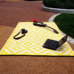Nirvana Yellow and White Outdoor Rug
