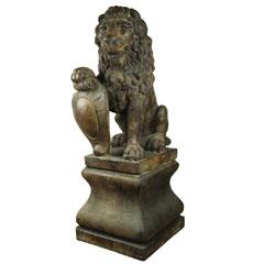 Henri Studios Lion & Pedestal - Set of 2